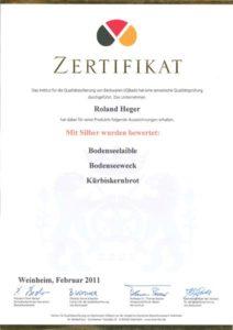 Zertifikat - Bäckerei Heger - Immenstaad