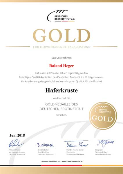 Heger Urkunde gold haferkruste - Bäckerei Heger - Immenstaad